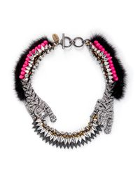 Venna | Metallic Fur Crystal Spike Chain Necklace | Lyst