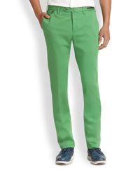 PT01 - Green Flat-front Linen & Cotton Trousers for Men - Lyst