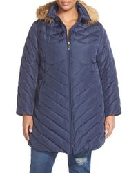 Ellen Tracy | Blue Faux Fur Trim Down Coat | Lyst