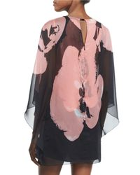 Halston - Black 3/4-sleeve Orchid-print Caftan - Lyst