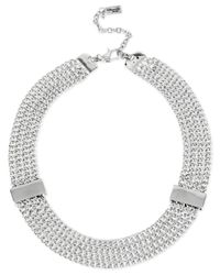 Kenneth Cole | Metallic Silver-tone Mesh Chain Collar Necklace | Lyst