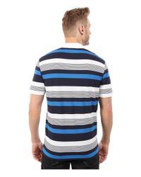 Lacoste - Blue Short Sleeve Pique Stripe Polo for Men - Lyst
