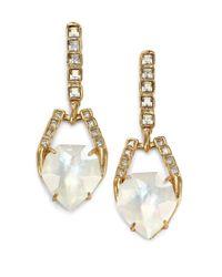 Alexis Bittar | Metallic Miss Havisham Mosaic Mother-of-pearl & Crystal Geometric Doublet Drop Earrings | Lyst