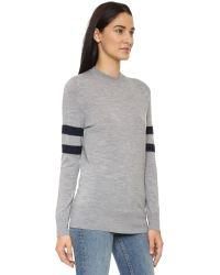 T By Alexander Wang - Gray Merino Stripe Pullover - Heather Grey - Lyst