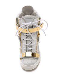 Giuseppe Zanotti - Croc Embossed Wedge Sneakers - White - Lyst