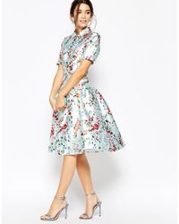 Chi Chi London - Blue Midi Dress On Sateen With Collar And Sleeves - Lyst