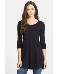 Eileen Fisher | Black Scoop Neck Jersey Tunic | Lyst