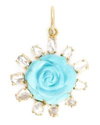 Irene Neuwirth - Blue 18kt Gold And Turquoise Flower Pendant - Lyst