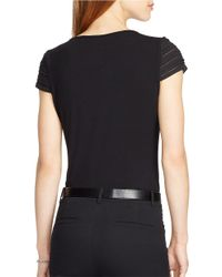 Lauren by Ralph Lauren | Black Pintucked Cap-sleeved Top | Lyst