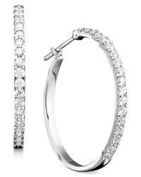 Macy's - 14K White Gold Earrings, Diamond Hoops (1-1/2 Ct. T.W.) - Lyst