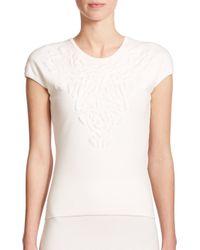ESCADA - White Embossed Flower Knit Top - Lyst