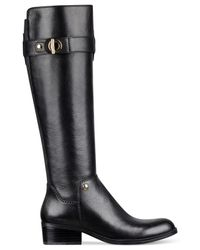 Tommy Hilfiger | Black Gallop Wide Calf Riding Boots | Lyst