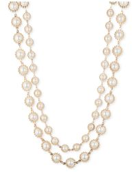 Anne Klein | Metallic Gold-tone Layered Imitation Pearl Necklace | Lyst