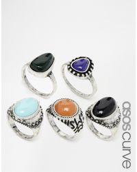 Asos Curve | Blue Stone Ring Multi Pack | Lyst