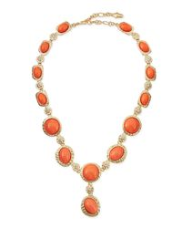 Kenneth Jay Lane | Orange Cabochon & Crystal Y-necklace | Lyst