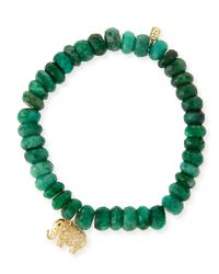 Sydney Evan - Green 8mm Faceted Emerald Beaded Bracelet With 14k Gold Diamond Elephant Charm - Lyst