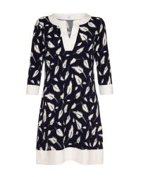 Almost Famous - Blue Feather Jersey Tunic - Lyst