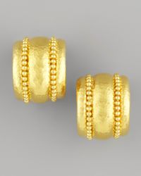 Elizabeth Locke - Metallic Amalfi Granulated 19k Gold Huggie Earrings - Lyst