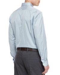 Ermenegildo Zegna - Blue Striped Long-sleeve Sport Shirt for Men - Lyst