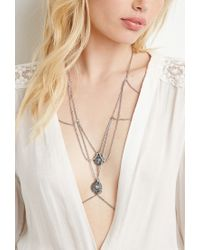 Forever 21 | Metallic Faux Stone Charm Body Chain | Lyst