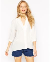 ASOS - White Longline Crinkle Tunic Top - Lyst