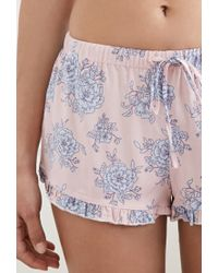 Forever 21 | Blue Ruffled Floral Pj Shorts | Lyst