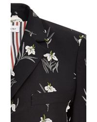 Thom Browne - Black Floral-embroidered Wool-blend Blazer - Lyst