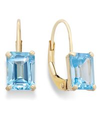 Macy's | 10k Gold Earrings, Emerald-cut Blue Topaz Leverback Earrings (2 Ct. T.w.) | Lyst
