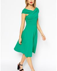 ASOS - Green Midi Skater Dress With Bardot Cross Shoulder Detail - Lyst