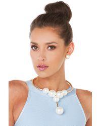 AKIRA - Natural Pearl Choker Cream Gold Necklace - Lyst