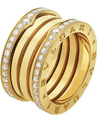 BVLGARI | Metallic B.zero1 Three-band 18ct Yellow-gold And Diamond Ring - For Women | Lyst