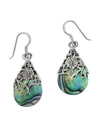 Aeravida | Green Floral Vine Ornate Teardrop Abalone .925 Silver Earrings | Lyst