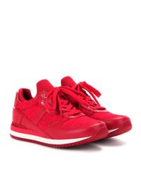 Dolce & Gabbana - Red Lace And Leather Sneakers - Lyst
