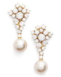 Nadri | White Faux Pearl Drop Earrings | Lyst