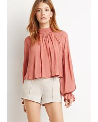 Forever 21 | Natural Contemporary Genuine Suede Flat-front Shorts | Lyst