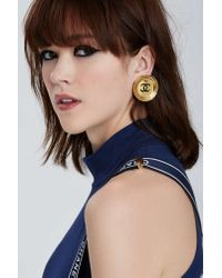 Nasty Gal - Metallic Vintage Chanel Gold Logo Earrings - Lyst