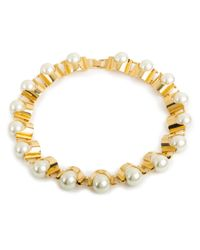 Lele Sadoughi | White Groove Necklace, Pearl | Lyst