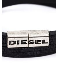 DIESEL | Black Logo Double Wrap Bracelet for Men | Lyst