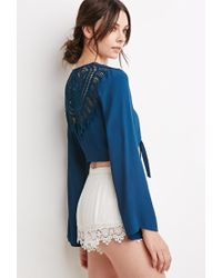 Forever 21 - Blue Crochet-paneled Knotted Front Top - Lyst