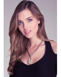 Bebe - Metallic Padlock Pendant Necklace - Lyst
