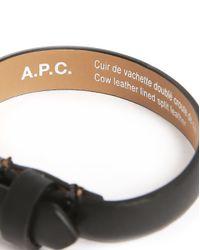 A.P.C. | Paris Black Leather Bracelet With Buckle Clasp for Men | Lyst