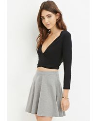 Forever 21 | Black Tie-front Wrap Crop Top | Lyst