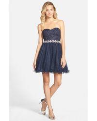 Way-in - Blue Embellished Waist Dress - Lyst