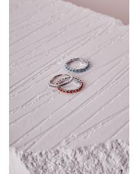 Missguided | Multicolor Thin Stone Detail Stacking Rings Set Multi | Lyst