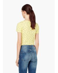 Mango - Yellow Printed Logo T-shirt - Lyst