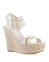 Elliott Lucca | White Giulia Platform Wedge Sandals | Lyst