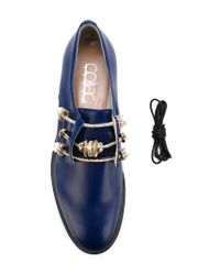 Coliac Blue Monica Leather and Glass Loafers