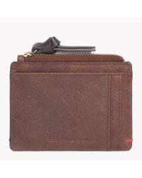 Tommy Hilfiger - Brown Pebbled Leather Credit Card Holder for Men - Lyst
