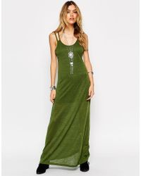 ASOS | Green Maxi Dress With Low Back And Lace Insert | Lyst