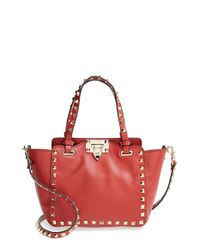 Valentino | Red 'micro Mini Rockstud' Leather Tote | Lyst